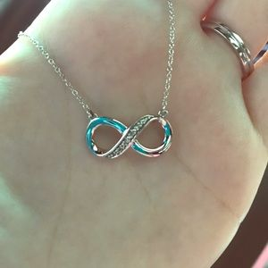 Infinity sterling silver with diamonds necklace